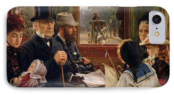An Omnibus Ride To Piccadilly Circus, Mr Gladstone Travelling With Ordinary Passengers IPhone Case by Alfred Morgan
