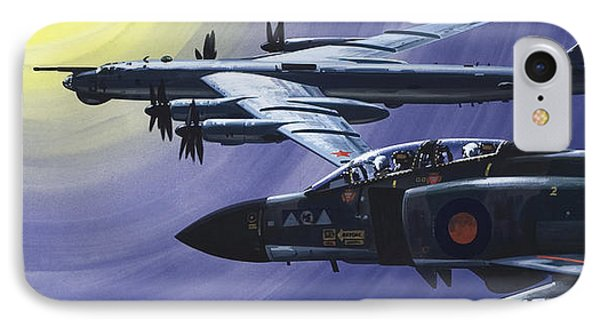 An Raf Phantom Of Strike Command Pulls In Close To A Russian Tupolev Tu95d  IPhone Case by Wilf Hardy
