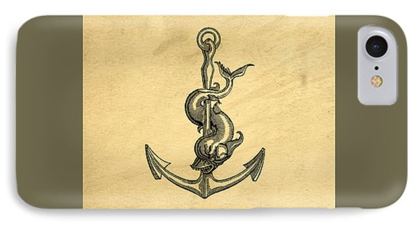 IPhone Case featuring the drawing Anchor Vintage by Edward Fielding