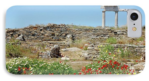 Ancient Marble Ruins And Wild Flowers IPhone Case by Yuri Hope