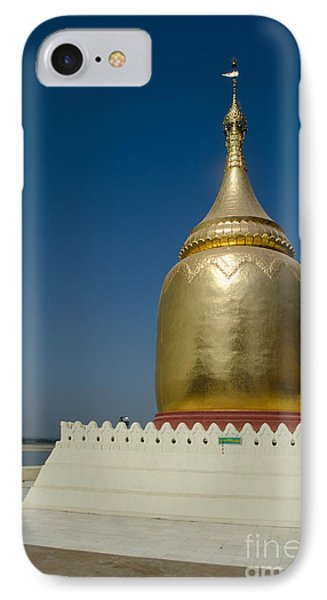 IPhone Case featuring the photograph Ancient Riverside Stupa Along The Irrawaddy River In Burma by Jason Rosette