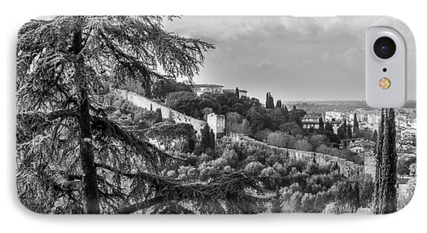 Ancient Walls Of Florence-bandw IPhone Case