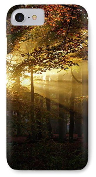 And Then There Was Light - Autumn Forest IPhone Case by Roeselien Raimond