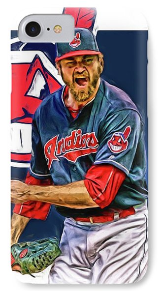 Andrew Miller Cleveland Indians Oil Art IPhone Case by Joe Hamilton