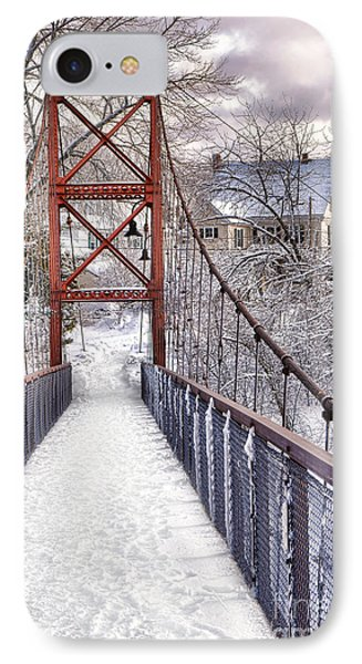 Androscoggin Swinging Bridge And Yellow House In Winter IPhone Case by Olivier Le Queinec