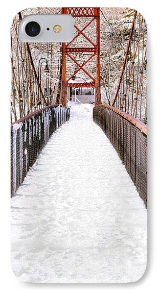 Androscoggin Swinging Bridge In Snow IPhone Case by Olivier Le Queinec