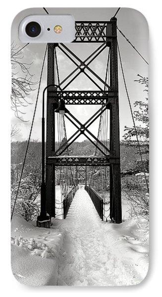Androscoggin Swinging Bridge In Winter IPhone Case by Olivier Le Queinec