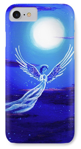 Angel In Blue Starlight IPhone Case by Laura Iverson