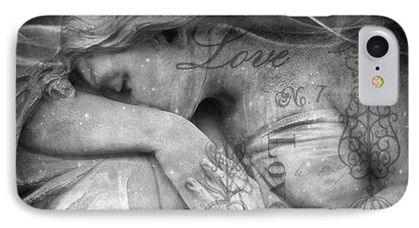IPhone Case featuring the photograph Angel In Mourning - Angel Crying Sad Cemetery Mourner At Grave - Angel Love Script Valentine Print by Kathy Fornal