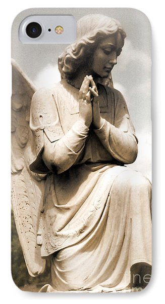 Angel In Prayer Kneeling - Guardian Angel Of Compassion IPhone Case by Kathy Fornal