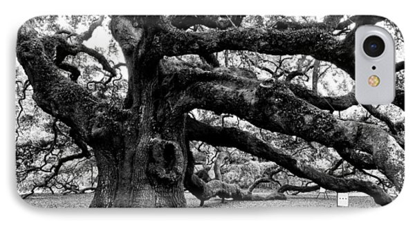 Angel Oak Tree 2009 Black And White Phone Case by Louis Dallara