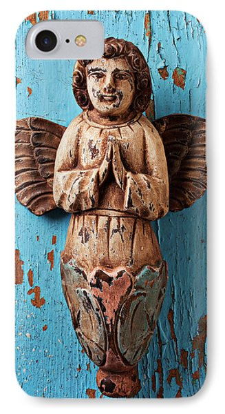 Angel On Blue Wooden Wall Phone Case by Garry Gay