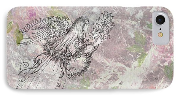 IPhone Case featuring the painting Angel On Pink And Green Florals by Judith Cheng