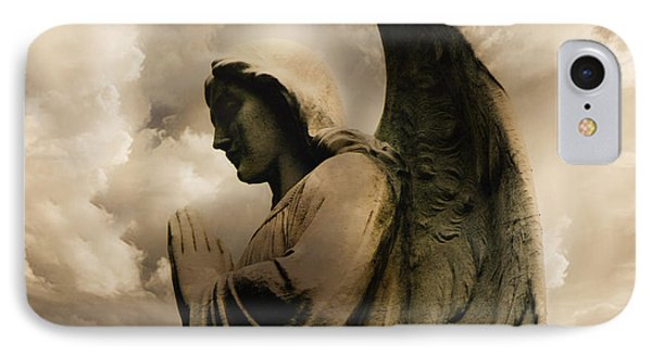Angel Praying Spiritual Angel Art - Heavenly Angel Praying Hands IPhone Case by Kathy Fornal