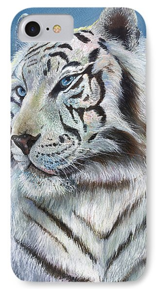 IPhone Case featuring the painting Angel The White Tiger by Sherry Shipley