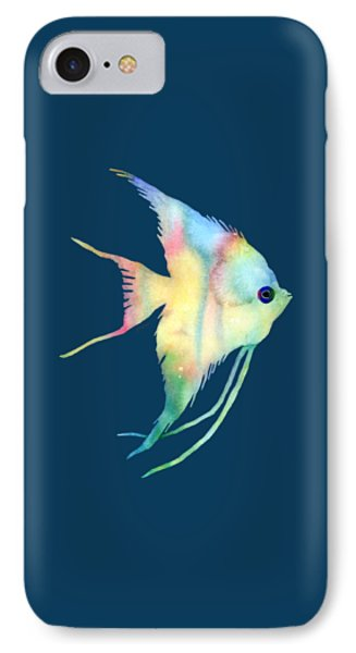 Angelfish I - Solid Background IPhone Case by Hailey E Herrera