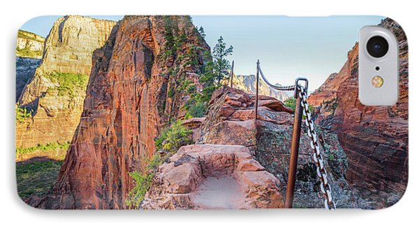 Angels Landing Hiking Trail IPhone Case by JR Photography