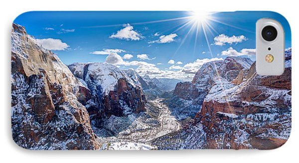 Angels Landing In Winter IPhone Case by James Udall