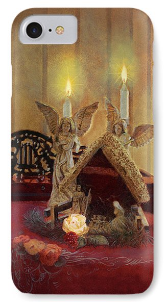 IPhone Case featuring the painting Angels Watching Over by Nancy Lee Moran