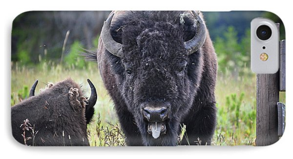 Angry Bison Phone Case by Greg Norrell