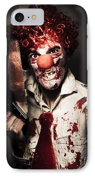 Angry Horror Clown Holding Butcher Saw In Darkness Phone Case by Jorgo Photography - Wall Art Gallery