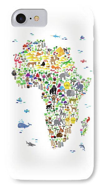 Animal Map Of Africa For Children And Kids IPhone Case by Michael Tompsett