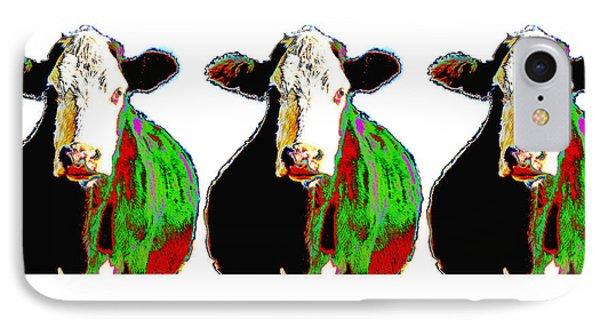 Animals Cows Three Pop Art Cows Warhol Style Phone Case by Ann Powell