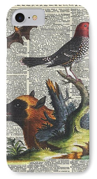 Animals Zoology Old Illustration Over A Old Dictionary Page IPhone Case by Jacob Kuch
