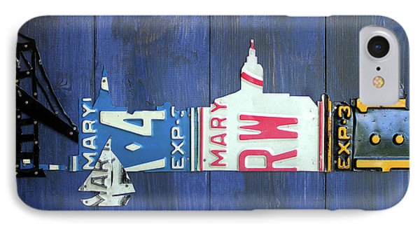 Annapolis Maryland Skyline Vintage License Plate Art IPhone Case by Design Turnpike