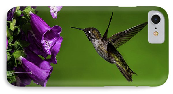 IPhone Case featuring the photograph Anna's Hummingbird With Fox Glove Flowers by Lara Ellis