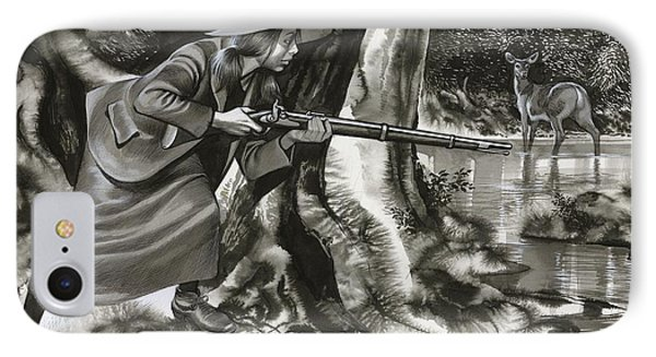 Annie Oakley Shooting A Buck IPhone Case by Ron Embleton
