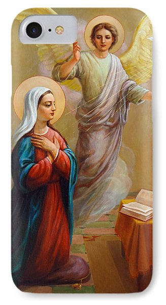 IPhone Case featuring the painting Annunciation To The Blessed Virgin Mary by Svitozar Nenyuk