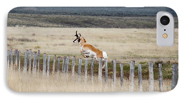 IPhone Case featuring the photograph Antelope Jumping Fence 1 by Rebecca Margraf