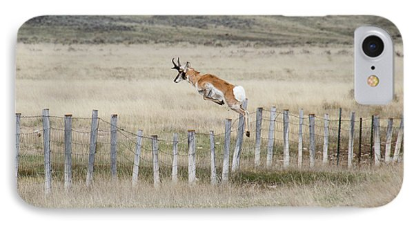 IPhone Case featuring the photograph Antelope Jumping Fence 2 by Rebecca Margraf