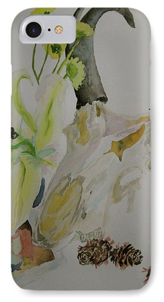 IPhone Case featuring the painting Antelope Skull Pinecones And Lily by Beverley Harper Tinsley