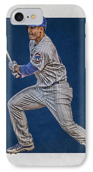 Anthony Rizzo Chicago Cubs Art 2 IPhone Case by Joe Hamilton