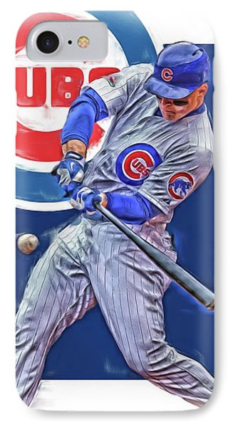 Anthony Rizzo Chicago Cubs Oil Art IPhone Case by Joe Hamilton
