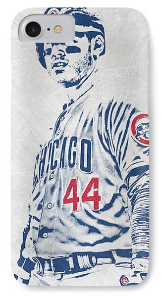 Anthony Rizzo Chicago Cubs Pixel Art IPhone Case by Joe Hamilton