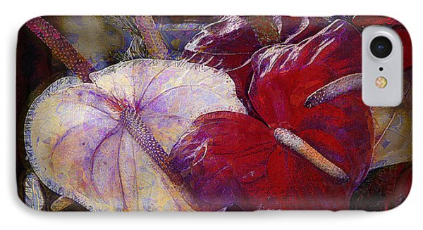 IPhone Case featuring the photograph Anthuriums For My Valentine by Lori Seaman