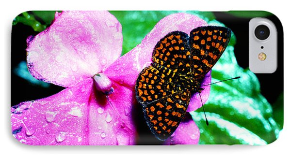 Antillean Crescent Butterfly On Impatiens Phone Case by Thomas R Fletcher