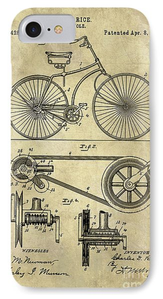 Antique Bicycle Blueprint Patent Drawing Plan, Industrial Farmhouse IPhone Case