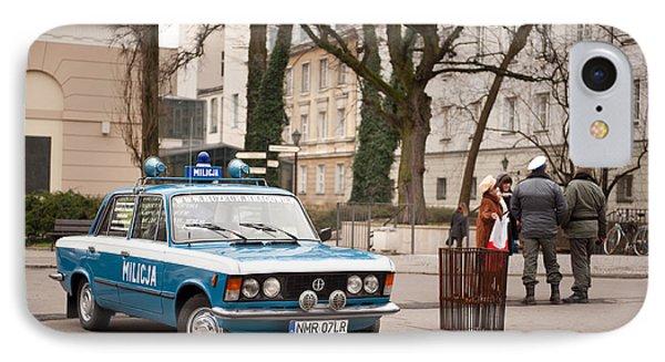 Antique Blue Militia Car View IPhone Case by Arletta Cwalina