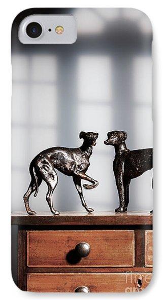 Antique Bronze Greyhound Dogs IPhone Case by Amanda Elwell