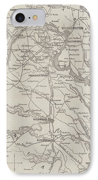 Antique Civil War Map Showing The Seat Of War In Virginia IPhone Case by American School