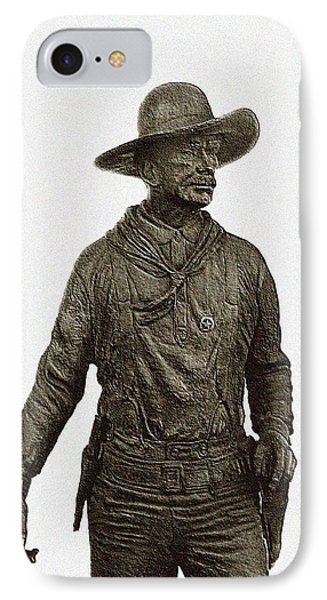 IPhone Case featuring the photograph Antique Cowboy Sculpture by Ellen O'Reilly
