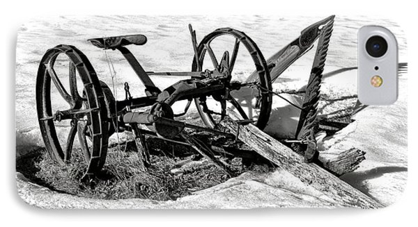 Antique Farm Machine In Winter Snow IPhone Case by Olivier Le Queinec