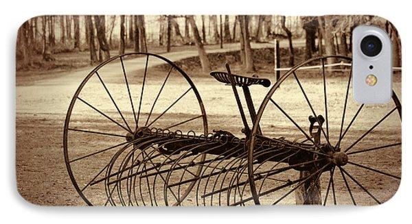 Antique Farm Rake In Sepia IPhone Case by Kathy Clark