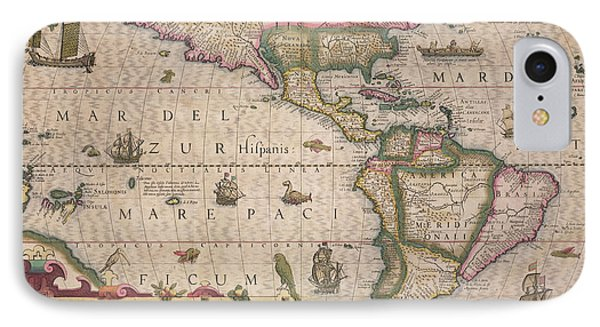 Antique Map Of America Phone Case by Jodocus Hondius