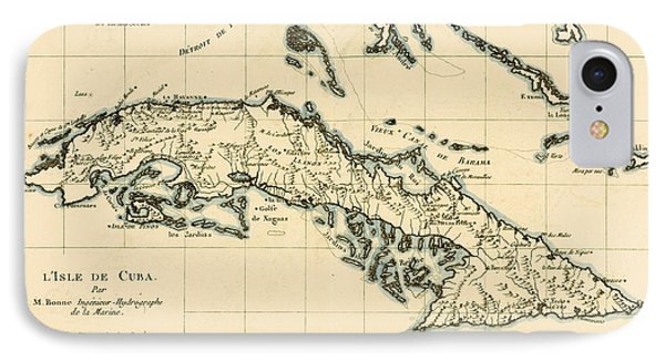 Antique Map Of Cuba IPhone Case by Guillaume Raynal