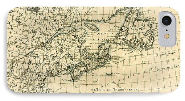 Antique Map Of Eastern Canada IPhone Case by Guillaume Raynal